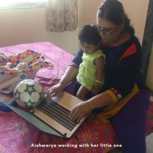 Aishwarya working with her little one