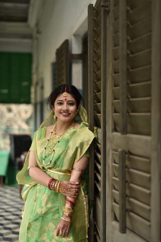 Beautiful Bride in Green Saree